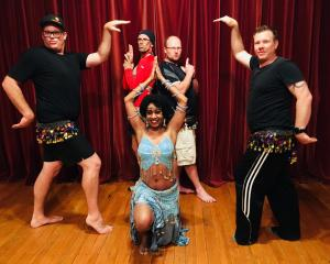 Belly dancers (front, from left) Steve Kay, Bee Smith and Uan Spijkerbosch; (rear) Chris Dogg and...