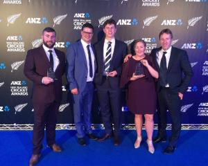 Otago award winners at the New Zealand Cricket Awards in Auckland (from left) James Carr, Daniel...