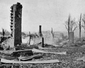 The western end of Seddon Street, Raetihi, razed by the disastrous fires that swept through the...