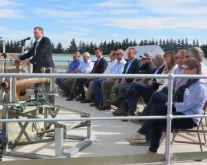 Ashburton Lyndhurst Irrigation Ltd board of directors chairman Colin Glass addresses the crowd at...