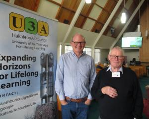 Barrhill Chertsey Irrigation Ltd general manager John Wright (left) and U3A programme committee...