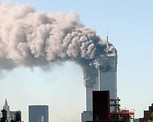 The twin towers of the World Trade Center are shown after hi-jacked planes were crashed into them. Photo: Getty Images