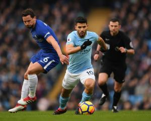 Sergio Aguero makes a break for Manchester City against Everton earlier this season. Photo: Getty...