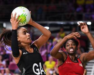 Maria Folau catches the ball for the Silver Ferns against England at the Gold Coast 2018...