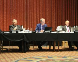 Members of Environment Southland's Water and Land Plan hearings panel listen to submissions...