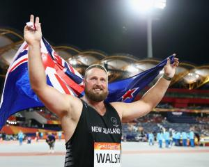 Tom Walsh celebrates after winning gold at the Commonwealth Games on the Gold Coast. Photo: Getty...