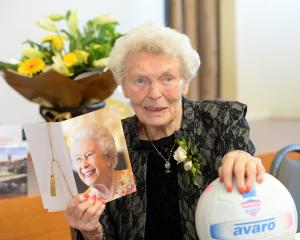 Violet Byers is never far from the ball, especially during a celebration in Mosgiel for her 100th...