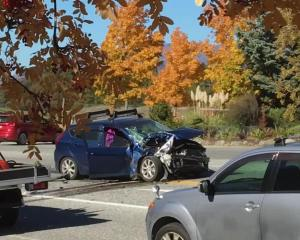 Two people were injured in a crash between a car and truck near Puzzling World today. Photo: Mark Price