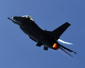 A United States Air Force F-16 flies at the Warbirds Over Wanaka air show. PHOTO: STEPHEN JAQUIERY