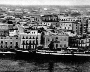 Hellas, as photographed in this postcard of Brindisi. The ship was later sunk in Greek waters.