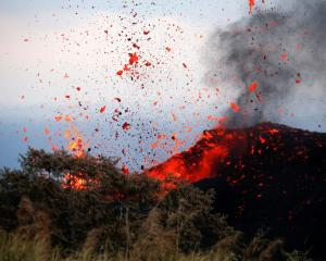 Lava activity on the outskirts of Pahoa during ongoing eruptions of the Kilauea Volcano in Hawaii...