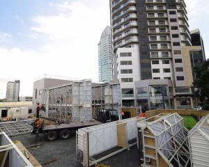 Farra Engineering's first high-rise-climbing work platform is assembled in Auckland yesterday....