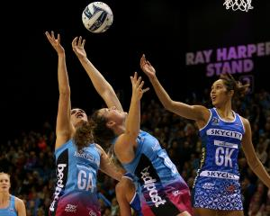 Te Paea Selby-Rickit (left) and Jennifer O'Connell, of the Steel, compete with Phoenix Karaka of...