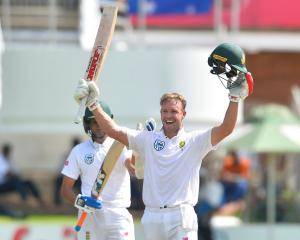 AB de Villiers celebrates one of his 22 test centuries. Photo: Getty Images
