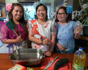 Clutha Culture Feast participants (from left) Mira Matalino, Judy Cross and Maria Hill prepare to...