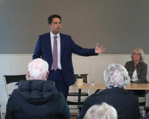 National party leader Simon Bridges speaks at the Alexandra Community Hall this morning with...