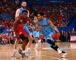 Corey Webster drives to the hoop for the New Zealand Breakers. Photo: Getty Images