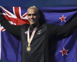 Boxer David Nyika after winning his gold medal at the Commonwealth Games on the Gold Coast. Photo...