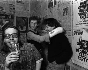 Xpressway Records' Bruse Russell (left) with The Dead C bandmates Robbie Yeats (centre) and...