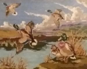 A variation on the flying duck theme. Mary Bedwell says this tapestry was made by her mother many...