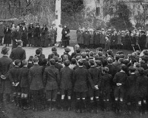 Children from city schools addressed by the Mayor of Dunedin, Mr J. J. Clark, at the Victoria...