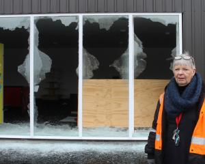 HWR Property project manager Sue Hill inspects damage at  Flip'N Fun  trampoline park yesterday....