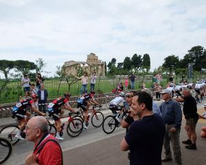 Some fans at the passage of the Giro d'Italia cycling in Paestum, during the eighth stage Praia a...