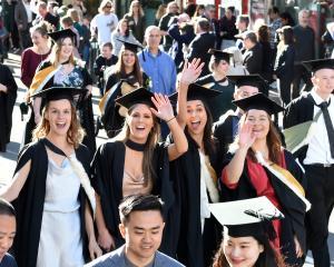 University of Otago graduands parade through Dunedin before their graduation ceremony at the...