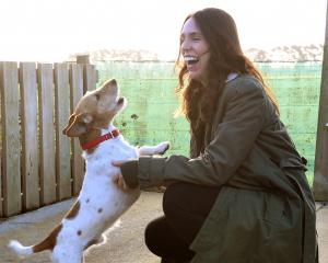 Prime Minister Jacinda Ardern  takes a short break, with Machito, after the serious business of a...