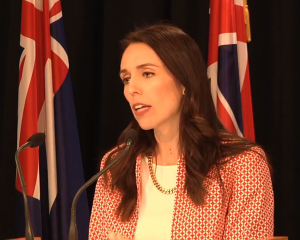 Prime Minister Jacinda Ardern speaking to media after today's Cabinet meeting. Image: Labour Party