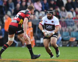 Karl Tu'inukuafe carries the ball for North Harbour in the Mitre 10 Cup semifinal against...