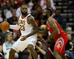 LeBron James (left) and James Harden were unanimous selection to the All-NBA first team. Photo:...