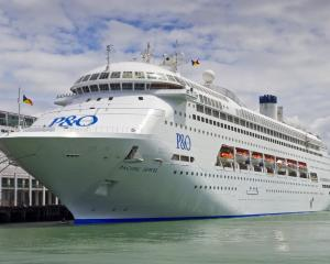The P&O cruise ship, Pacific Jewel, berthed at Princes Wharf, Auckland. Photo: David Rowland