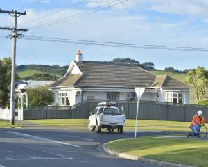 A Delta linesman works to repair a power line brought by high winds in Puketai St; Anderson's Bay...
