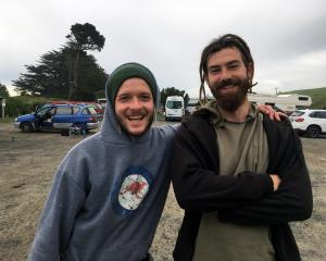 German freedom campers Marc Hasler (left) and Danny Sumpter prepare to depart from the Ocean View...
