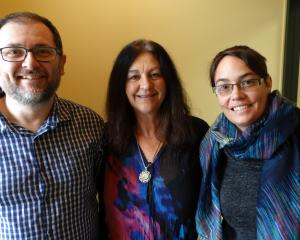 Keen members of Dunedin's Monday Meditations group (from left) Rob Tigeir, Suraya Langston and...
