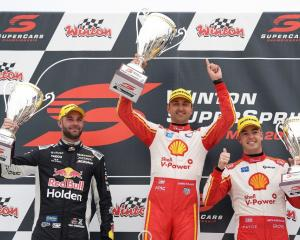 The Kiwis who finished in the top three at yesterday's Supercars race (from left) Shane van...
