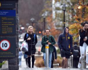One of the University of Otago's new speed and cycle signs aimed at making the campus safer....