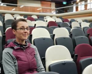 Lake Wanaka Centre co-ordinator Christine Schafer tries out the building's upgraded seating....