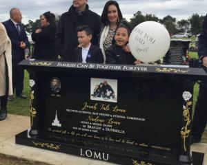Jonah Lomu's headstone was unveiled at a family ceremony in Auckland today. Photo: NZ Herald