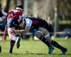Kieran Read puts in a tackle while playing for the Counties Manukau Selection. Photo: NZ Herald
