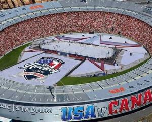 Westpac Stadium created an ice hockey rink especially for the game. Photo: Westpac Stadium via NZ...