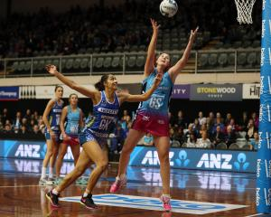 Southern Steel goal shoot Jennifer O'Connell stretches for the ball as Northern Mystics goal keep...