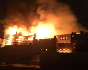 The rear elevation of the Glasgow School of Art is seen on fire. Photo: Reuters via Twitter