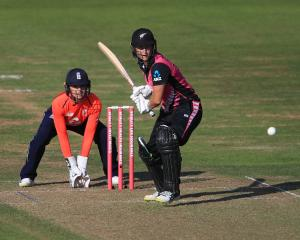 New Zealand batsman Sophie Devine bats against England during their tri-series twenty20...