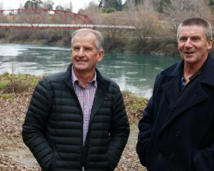Vincent Community Board members Brian Fitzgerald (left) and Russell Garbutt at the Miners Lane...