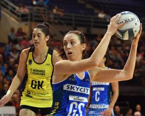 Northern Mystics goal shoot Bailey Mes catches a ball during their game against the Central Pulse...