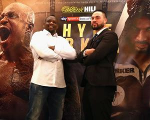 Dillian Whyte (left) and Joseph Parker at the fight announcement press conference yesterday....