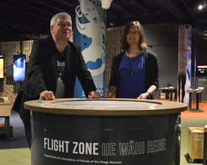 Otago Museum Director Ian Griffin and Friends of the Otago Museum President Anne Ford trialing...