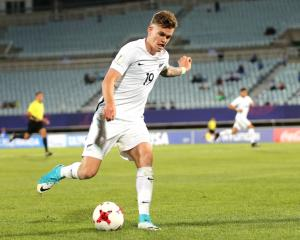 New Zealand's Myer Bevan scored the only goal of the game. Photo: Getty